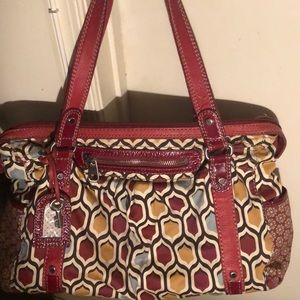 LARGE MULTI COLORED FOSSIL DUFFLE BAG